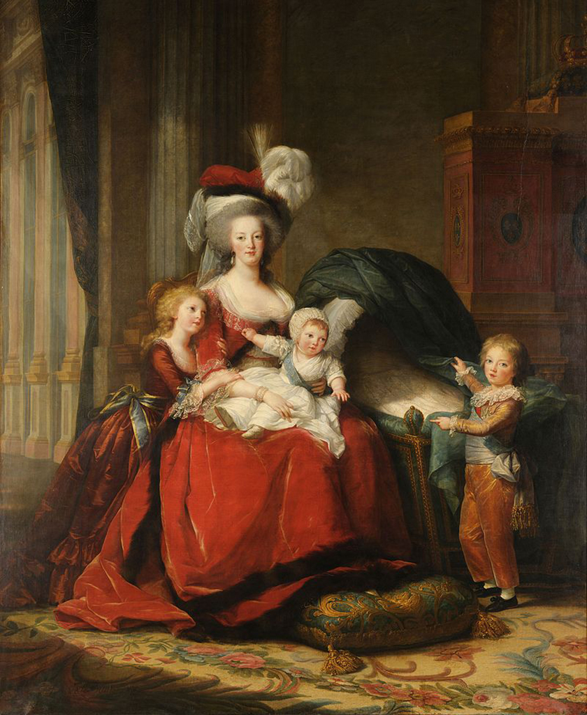 Queen Marie Antoinette with her children Marie Therese, Louis Charles, and Louis Joseph.