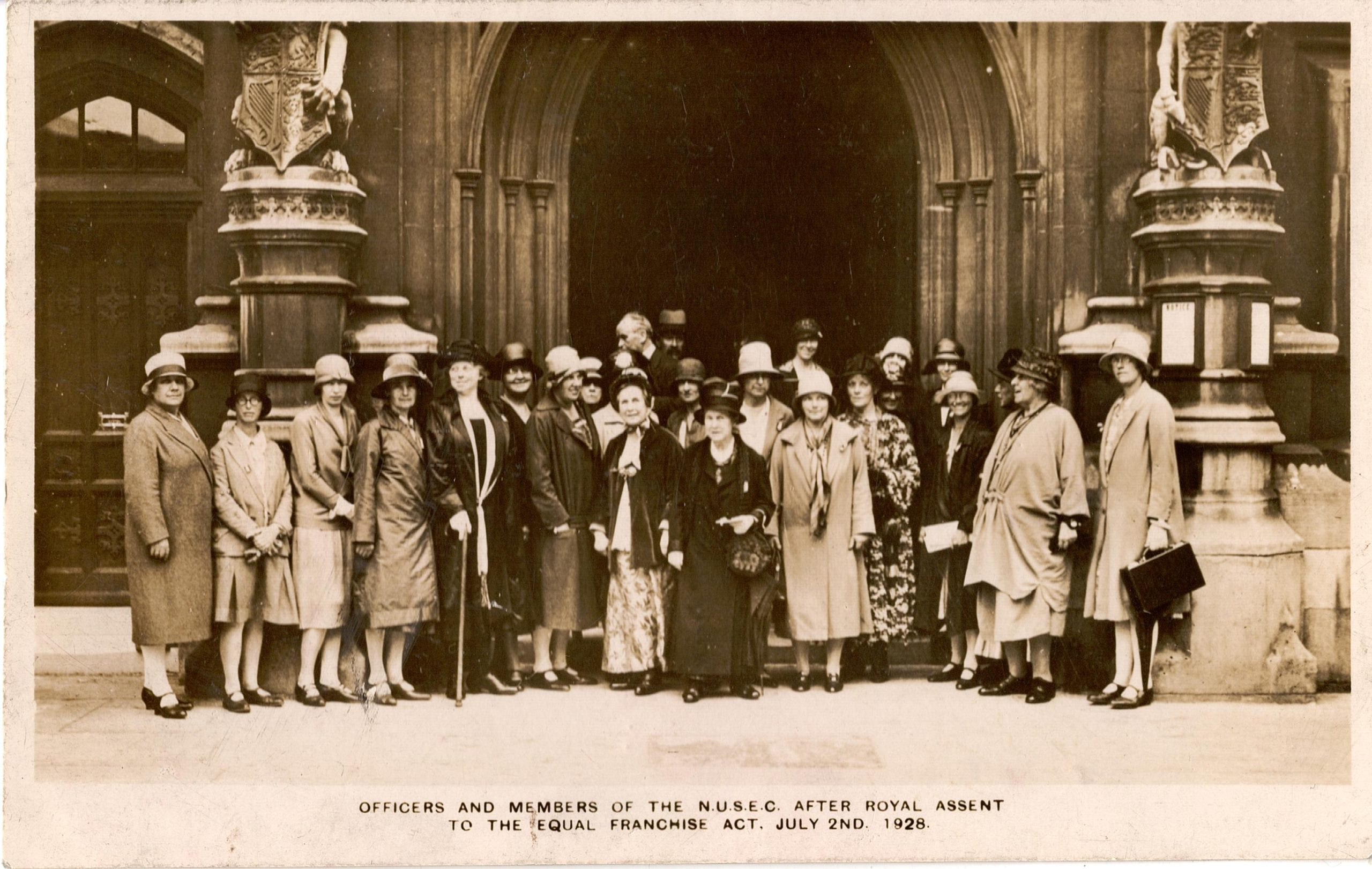 Officers and members of the National Union of Societies to Equal Citizenship after Royal Assent to the Equal Franchise Act on 2 July 1928.