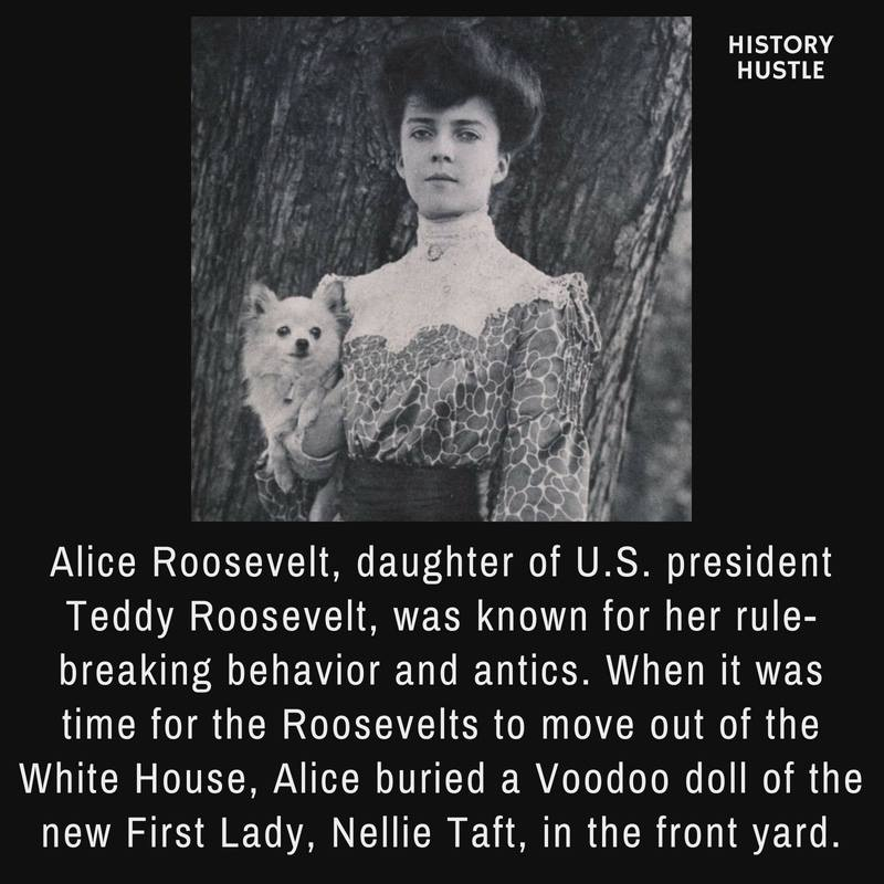 Alice Roosevelt, daughter of US President Teddy Roosevelt. photographed in front of a tree carrying a small dog.