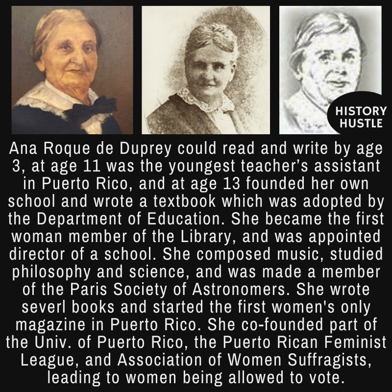 3 different portraits of Ana Roque de Duprey, an educator, suffragist, and one of the founders of the University of Puerto Rico
