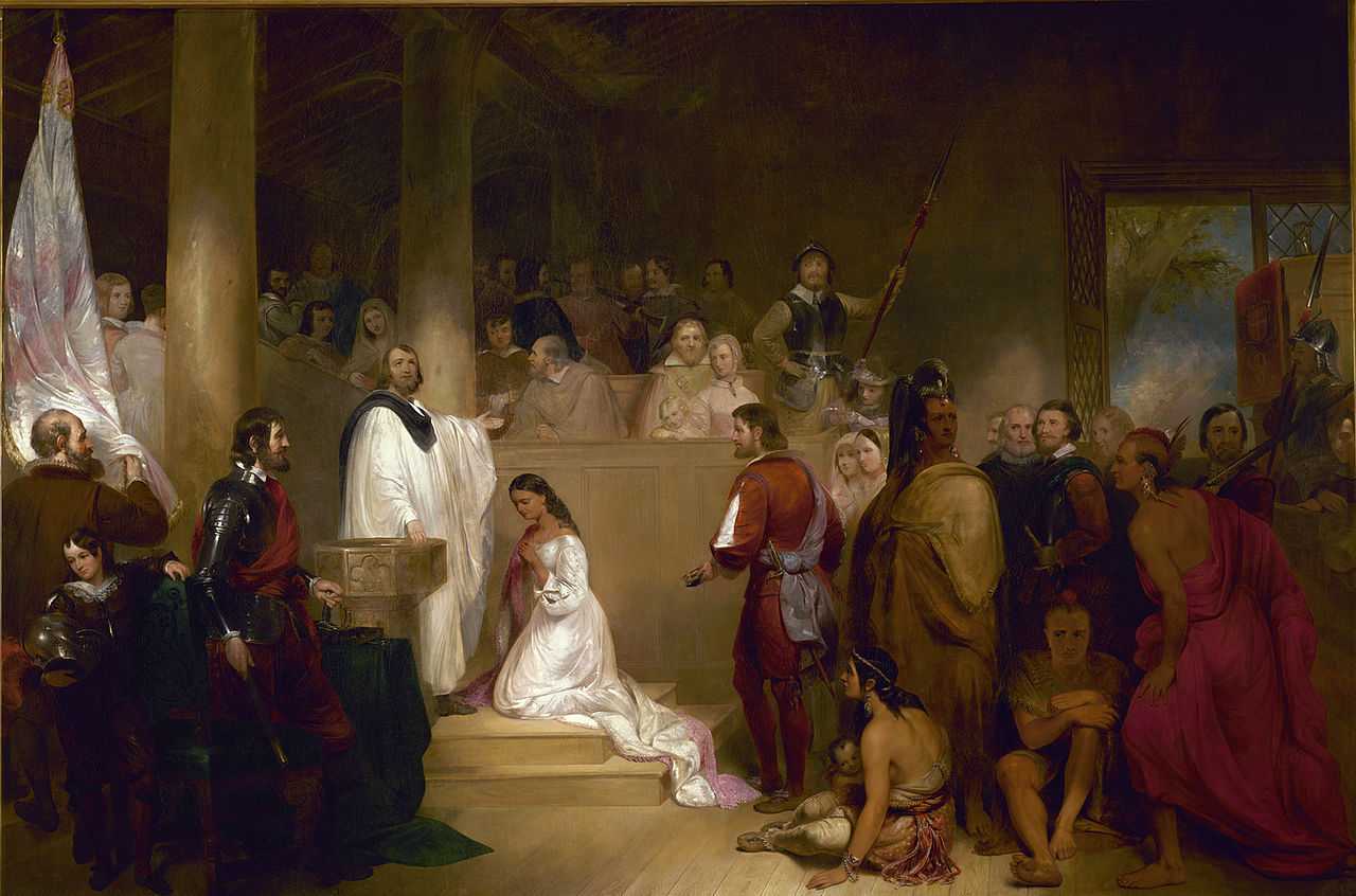 Pocahontas, wearing white, being baptized Rebecca by Anglican minister