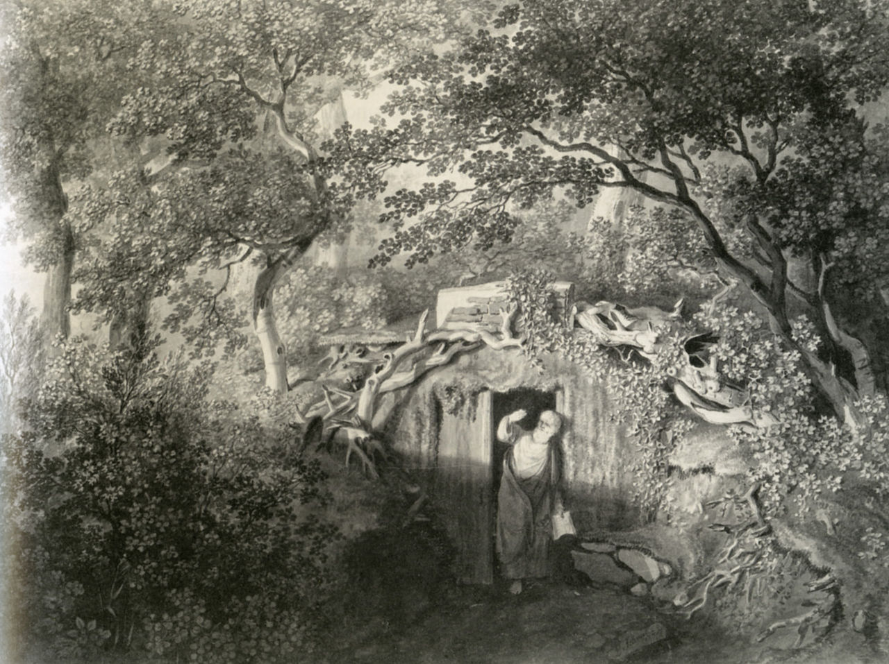 Representation of a garden hermit in Germany in the late 18th century