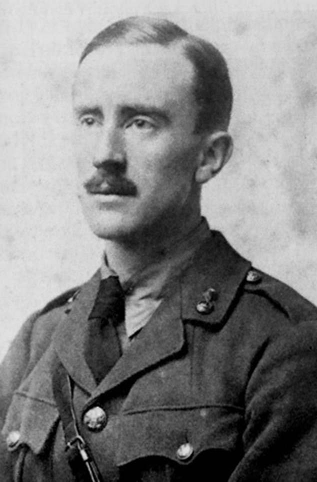 Tolkien's portrait, age 24 in army uniform, 1916