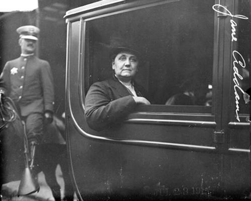 Jane Addams inside a car