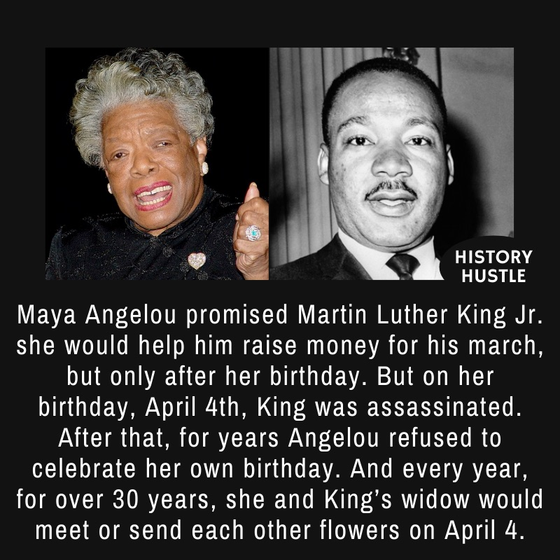 Photograph of Maya Angelou, an American poet, memoirist, and civil rights activist, and a black and white photograph of Martin Luther King Jr.