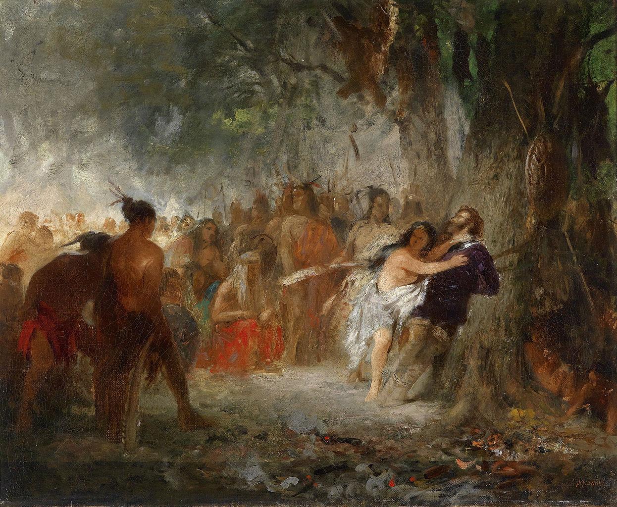 Pocahontas Saves the Life of Captain John Smith by Johann Friedrich Engel, oil painting