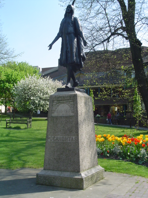 Statue of Pocahontas in St George's Church, Gravesend, Kent