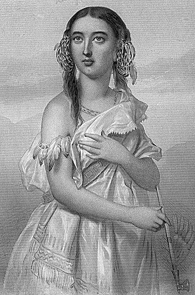 A portrait of Pocahontas.