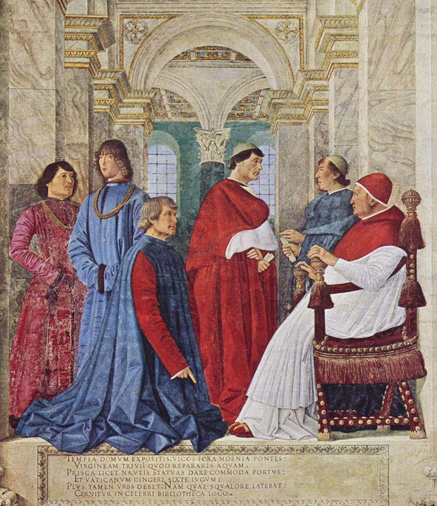 portrait of Pope Sixtus IV with his nephews and courtiers. Girolamo Riario is the second figure from the left