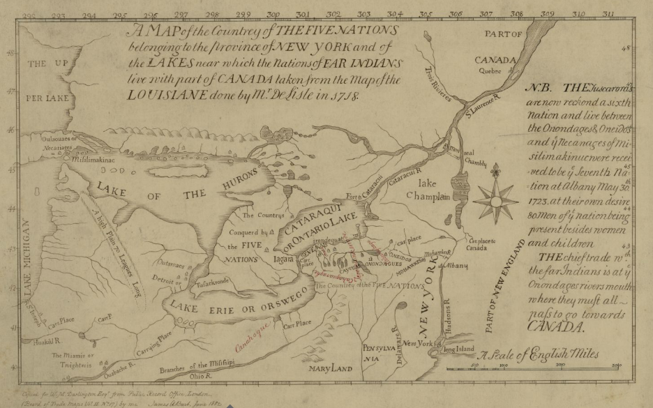 Map of the Country of the Five Nations belonging to the province of New York and of the Lakes near which the Nations of Far Indians live with part of Canada taken from the Map of the Louisiane done 1730