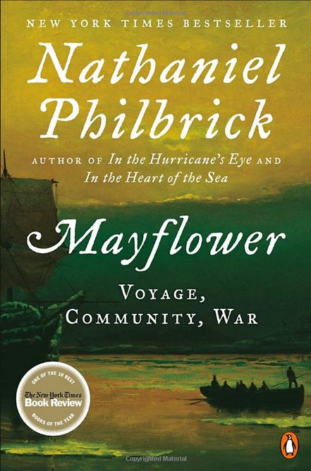 "cover of an American history book ""Mayflower: Voyage, Community, War"""