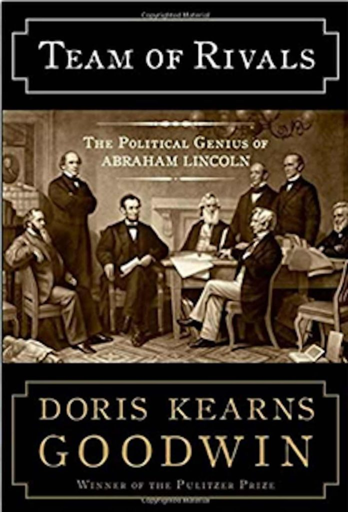 "cover of the American history book ""Team of Rivals: The Political Genius of Abraham Lincoln"""