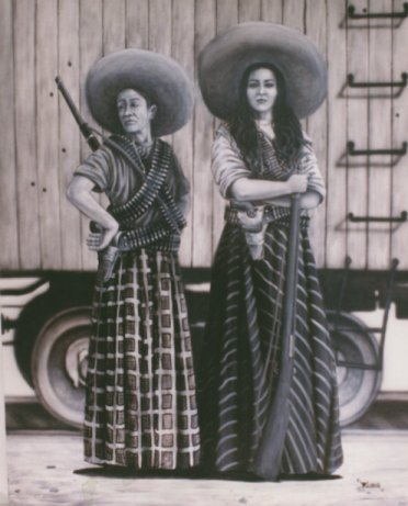 An illustration of a couple of soldaderas with rifles.