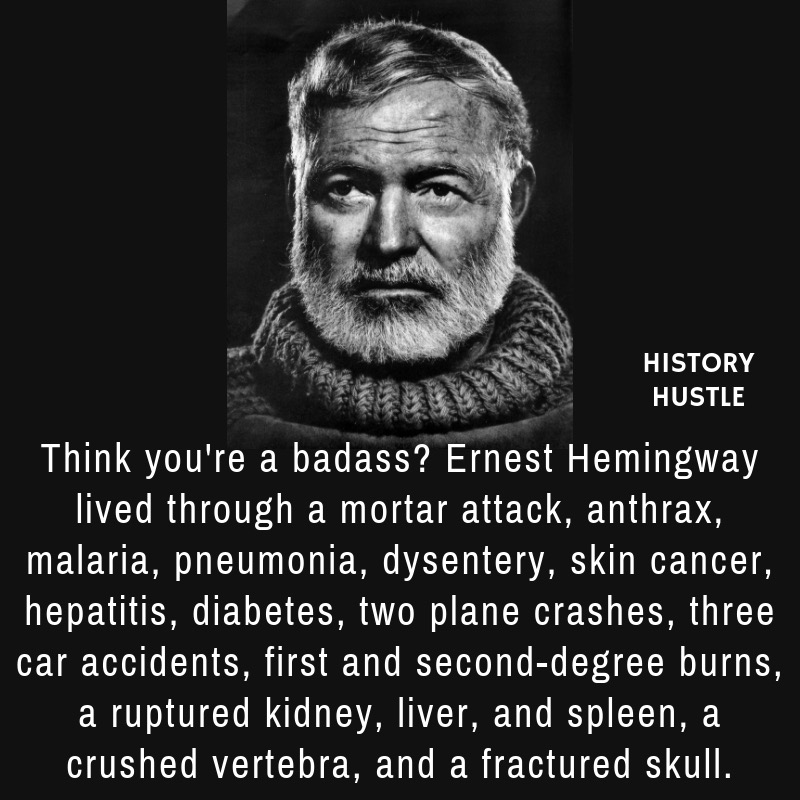 fact about Hemingway, one of the famous authors of his time